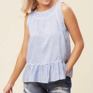 Altar'd State sleeveless blue & white top Large